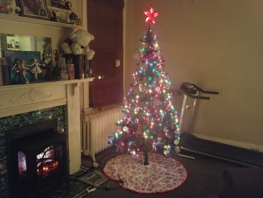 A photo of our Christmas Tree & Fireplace