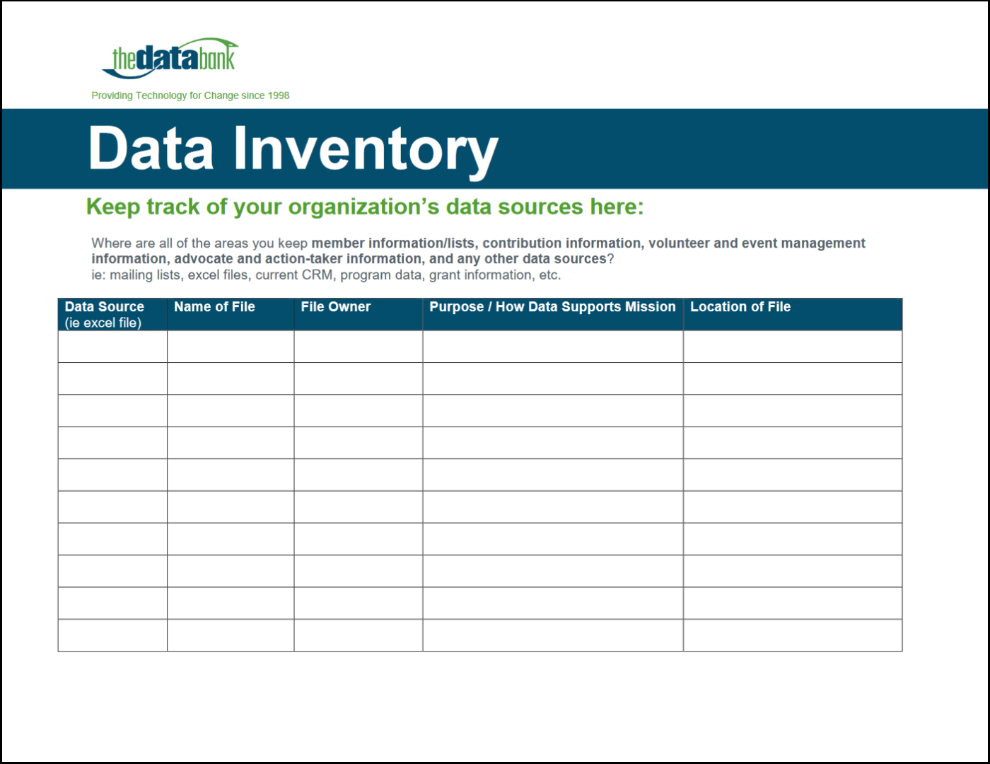 Data Inventory Worksheet