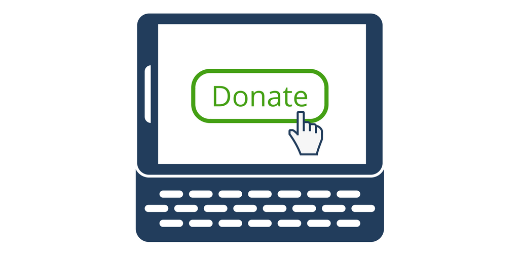 computer screen with donate button