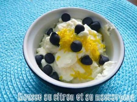 Mousse au citron et à la mascarpone
