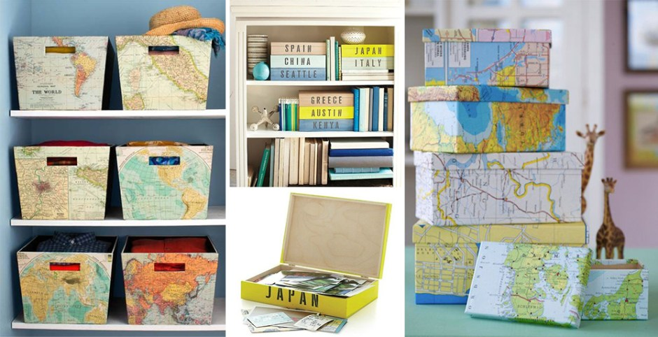 Idée de décoration voyage pour sa maison avec de jolies boites de rangements