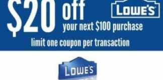 Lowe's $20 Off $100 Coupon - Digital Delivery