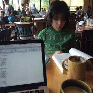writing at the cafe