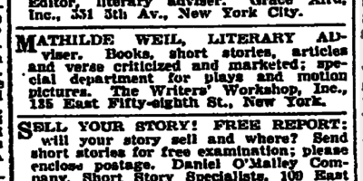 Ads for Writers-Feb 1929