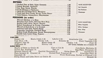 A menu from the Stork Club in NYC