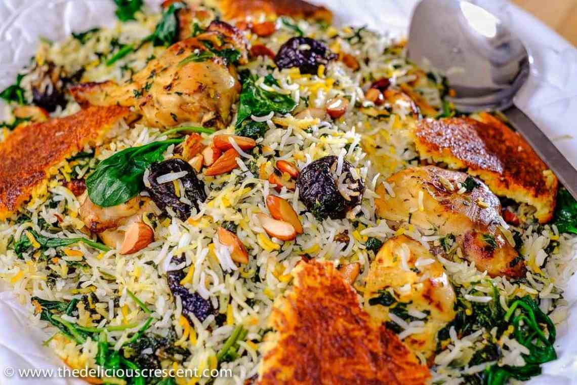 Saffron Yogurt Rice with Spinach and Prunes is a classic Persian dish referred to as Tahchin e Esfanaj. One serving of this entree provides 225 calories and beautifully combines the five food groups!