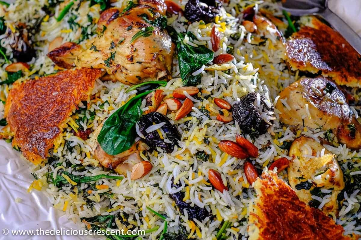 Saffron Yogurt Rice with Spinach and Prunes
