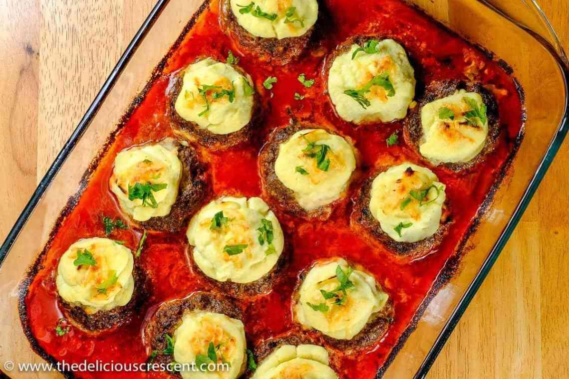 Creamy Cauliflower Stuffed Meatballs