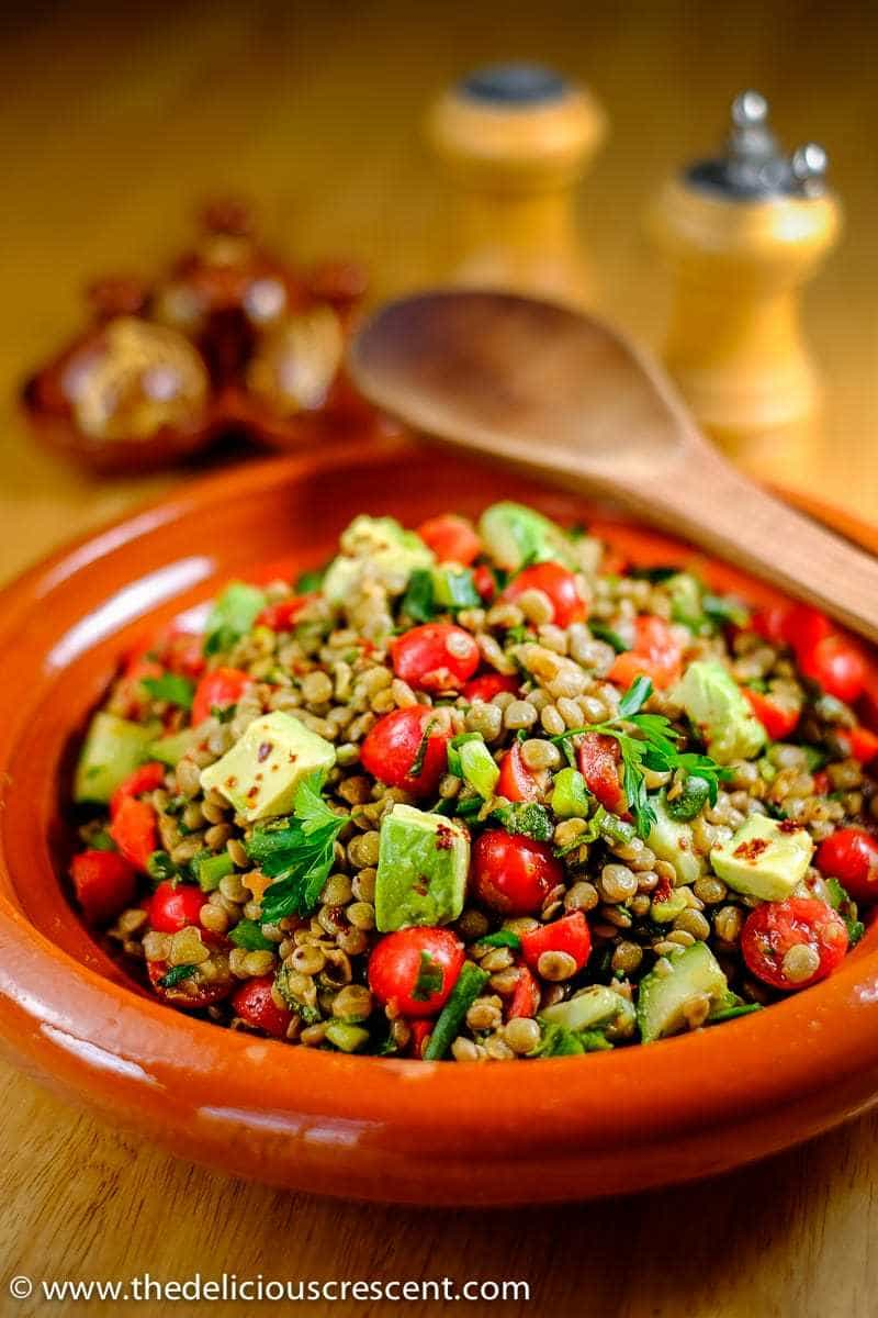 Spiced Herbed Lentil Salad with Avocado