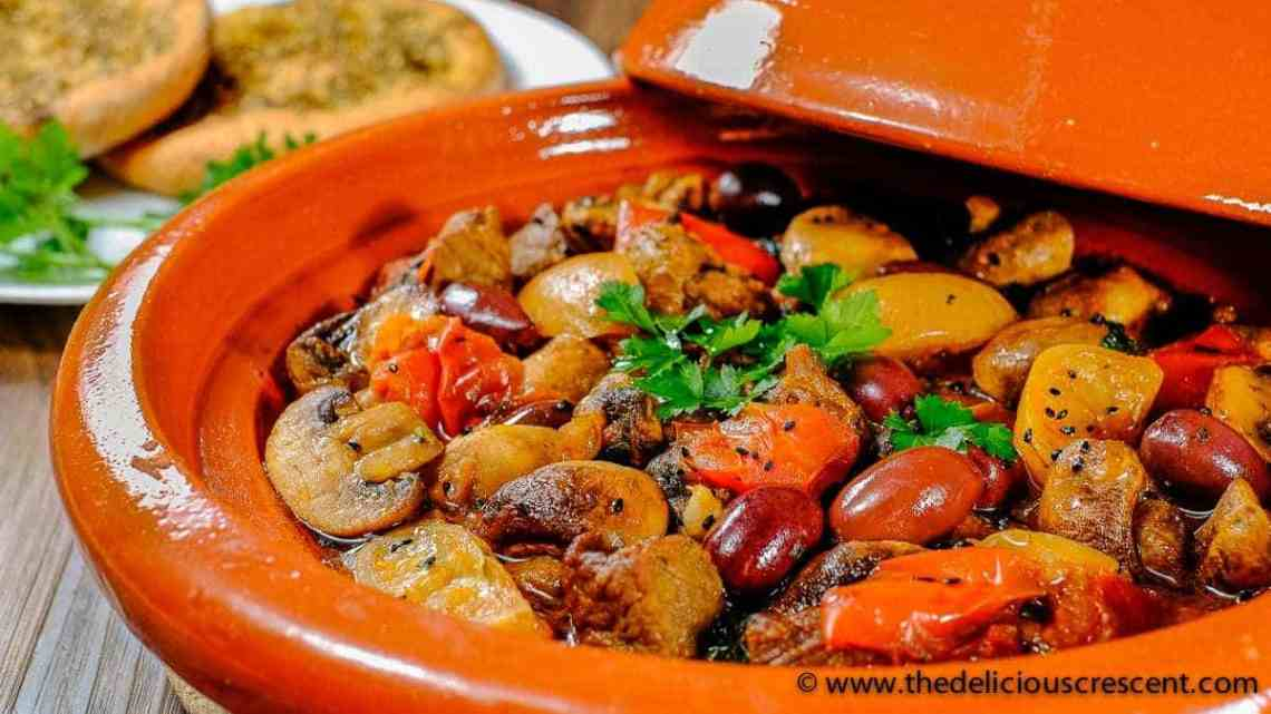 Lemony Lamb Tagine with Mushrooms and Olives is a Moroccan style dish with succulent earthenware stewed lamb loaded with healthy deliciousness – rich in flavor, high protein and potassium, low carb and calories, healthy fats, good fiber!!