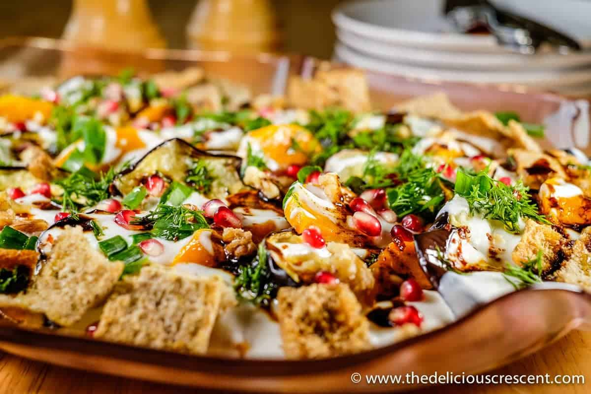 Eggplant Yogurt Salad with Pomegranate Walnuts and Pita Chips