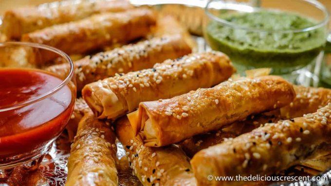 Crispy Potato Edamame Cigar Samosas