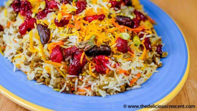 Lentil Cranberry Saffron Rice