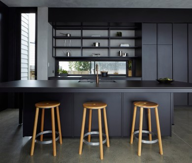 This clever locally designed kitset kitchen delivers sleek design in spades