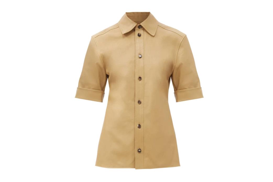 Bottega Veneta point-collar leather shirt