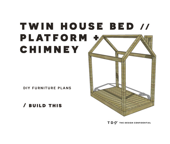 DIY Furniture Plans // How to Build a Twin House Bed with Platform + ...