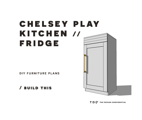 You Can Build This! Easy DIY Plans from The Design Confidential with Complete Instructions on How to Build a Chelsey Play Kitchen Fridge via @thedesconf
