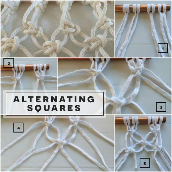 How to Tie Alternating Square Knots in Free Macrame Pattern DIY Project