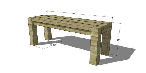 Dimensions for The Design Confidential Free Woodworking Plans to Build a Big Sur Coastal Collection 48 Inch Bench