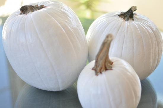 White Painted Pumpkins for Easy Halloween DIY No Carve Glow In The Dark Pumpkins