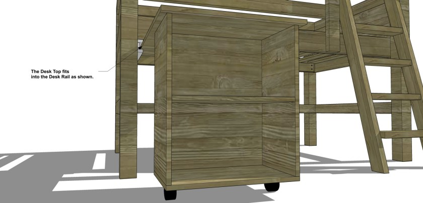 The Design Confidential Free DIY Furniture Plans to Build a Twin Sized Low Loft Bunk with Roll Out Desk