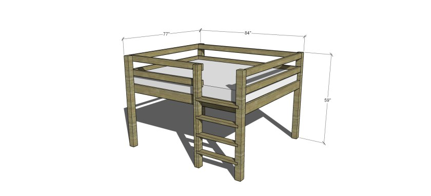 free diy furniture plans how to build a queen sized low loft bunk bed the design confidential. Black Bedroom Furniture Sets. Home Design Ideas