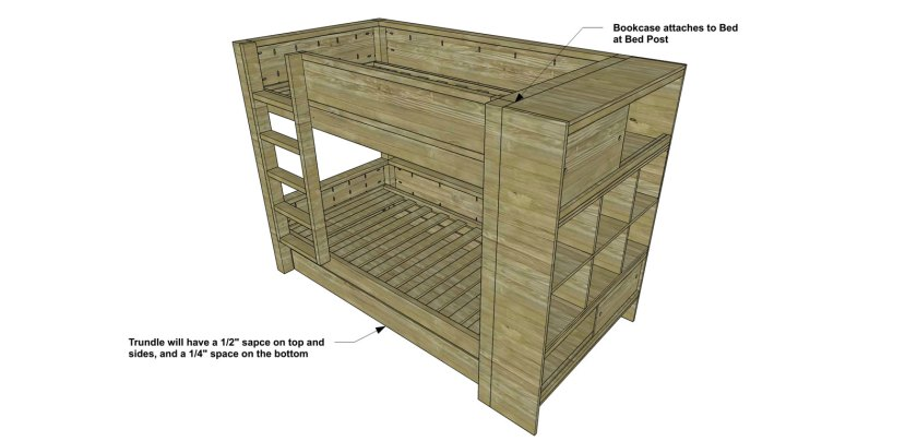 You Can Build This! Easy DIY Furniture Plans from The Design Confidential with Complete Instructions on How to Build a Trundle and Bookcase for the Duet Bunk Bed via @thedesconf