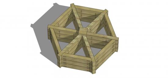 The Design Confidential Free DIY Outdoor Plans How to Build an Herb Wheel Garden Planter via @thedesconf