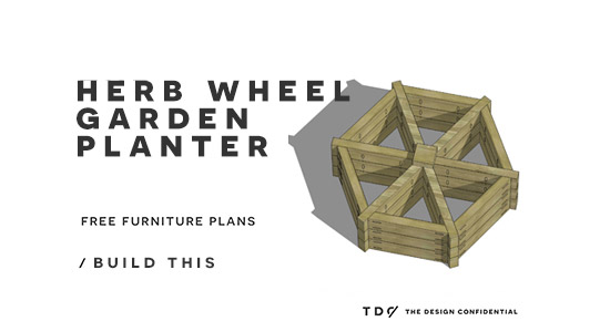 The Design Confidential Free DIY Outdoor Plans How to Build an Herb Wheel Garden Planter via @thedesconf