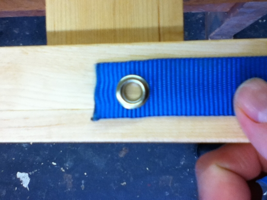 Eyelet to allow 1/4 screw into the crib frame where I put the 1/4 threaded inserts