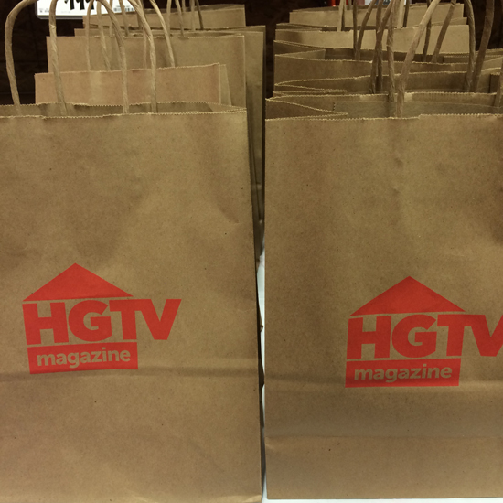 Swag Bags from HGTV at The Design Confidential Huge How-To Holiday Giveaway + The Home Depot DIH Workshop