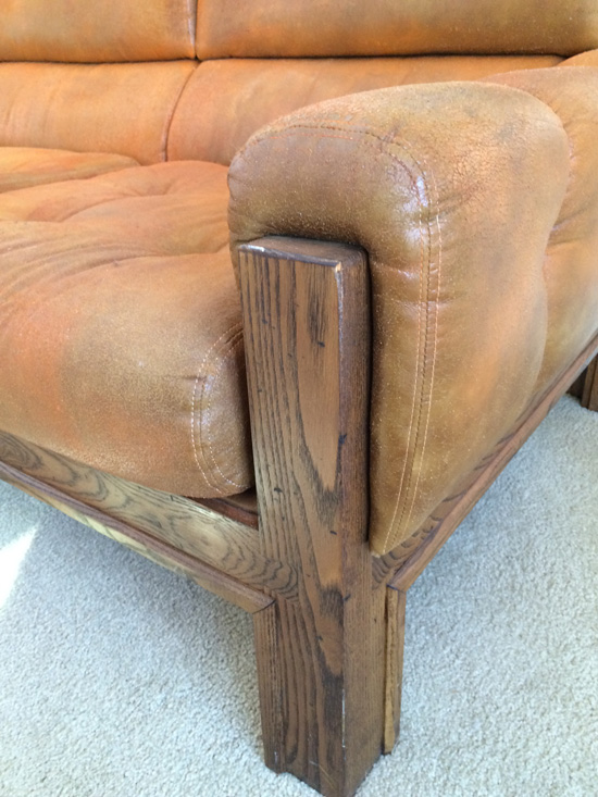 Arm Detail for The Design Confidential Vintage Vulture // My New Old Sofa + DIY Reupholstery Or Leather Restoration