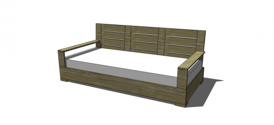 Free DIY Furniture Plans to Build a Large Belvedere Indoor Outdoor Sofa