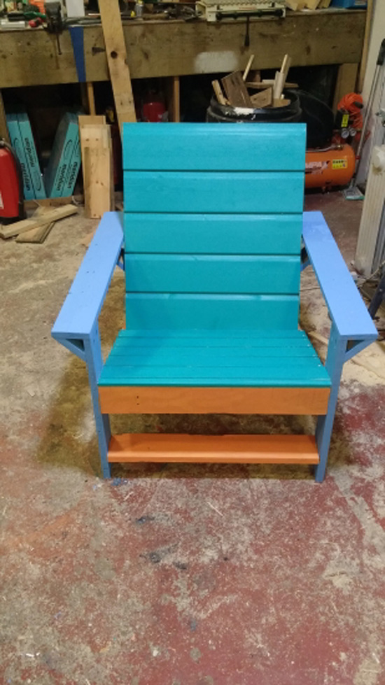 The Design Confidential Builders Showcase Outdoor Modern Adirondack Chair + Ottoman