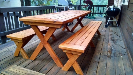 Beautiful Sides for The Design Confidential Reader Showcase // Tahoe-Dude's Chesapeake Picnic Pable and Benches