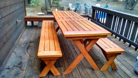 Finished Build for The Design Confidential Reader Showcase // Tahoe-Dude's Chesapeake Picnic Pable and Benches