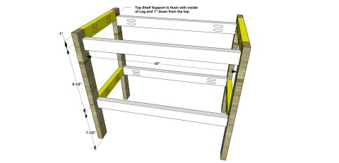 Attach the Shelf Supports for The Design Confidential Free DIY Furniture Plans // How to Build a Children's Play Workbench