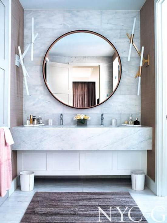The Design Confidential Bathe Well Rounded Mirrors In The Bath Marble  Vintage Floating Vanity Sconces Round