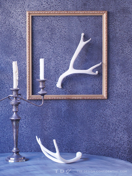 Antler Display for The Design Confidential DIY Ram's Horn Shelf and Skeleton Taxidermy Display // Easy Halloween Decor Project