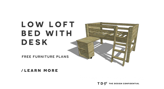 The Design Confidential Free DIY Furniture Plans // How to Build a Twin Sized Low Loft Bunk with Roll Out Desk + Bookshelf
