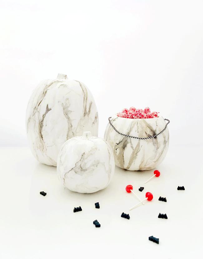 DIY // Faux Marble Pumpkins