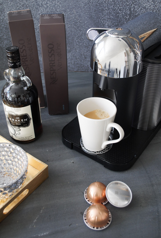 Brewed Coffee for Nespresso VertuoLine by The Design Confidential Home for Holidays // Easy Pumpkin Spice Eggnog Latte Recipe