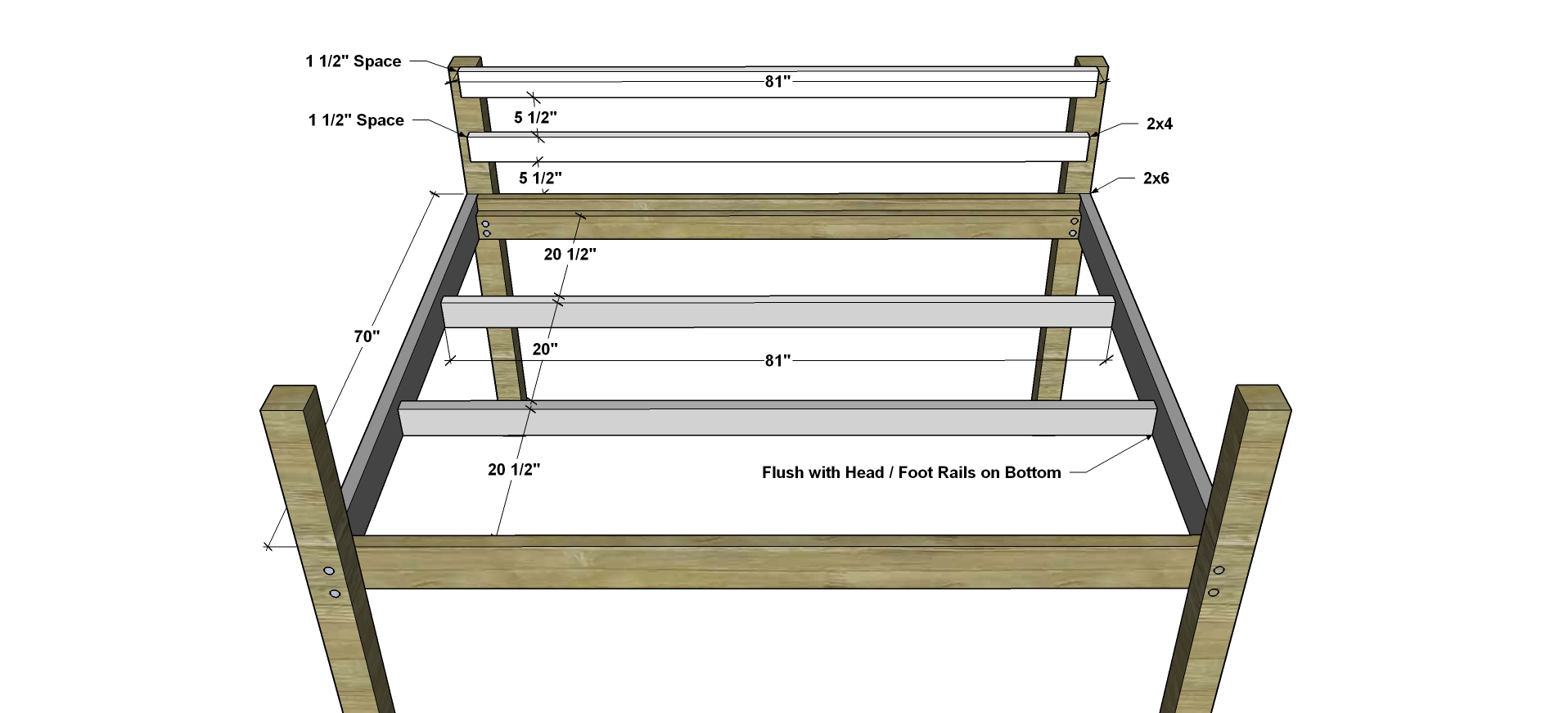 Free Diy Furniture Plans How To Build A Queen Sized Low Loft Bunk Bed The Design Confidential