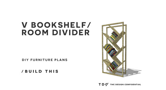 You Can Build This! The Design Confidential DIY Furniture Plans // How to Build a V Bookshelf Room Divider via @TheDesConf