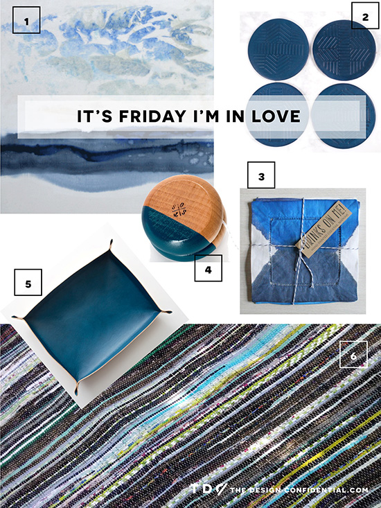 Gathered Home Decor Goods Art Rug Coasters Yoyo Tray from Great.ly Makers in Blue and Cool Tones for The Design Confidential Feature It's Friday I'm In Love // Edition 13