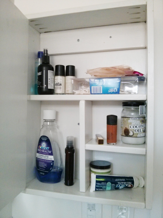 Inside Shelves and Storage for Reader Showcase // Simple White Medicine Cabinet with Red Cross
