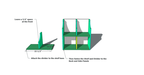 Step 3 for Free Woodworking Plans to Build an Ann Marie Toddler Storage Cubby Desk