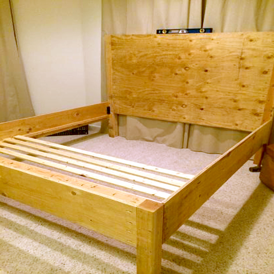 In Progress Shot of Real Reader Build from The Design Confidential of the Emmerson King size bed with tufed headboard