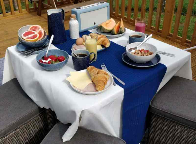 Al fresco activities eating breakfast outside with the Denby Studio Blue Casual Dining Collection