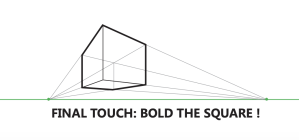 how to draw a cube 2-point perspective - Bold